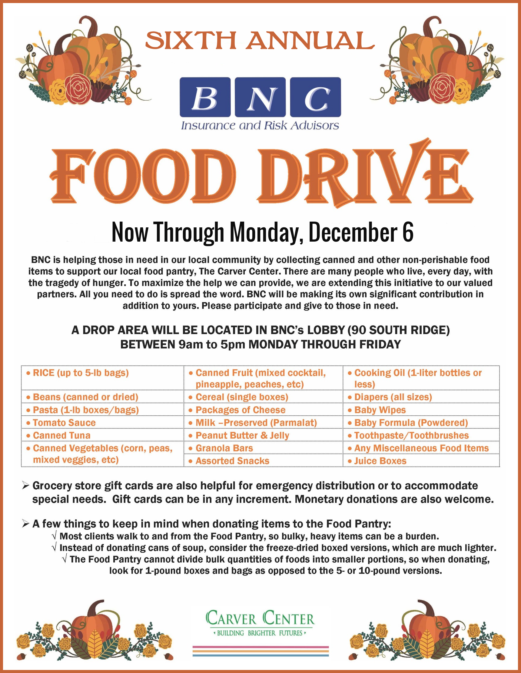 Announcing BNC's Sixth Annual Food Drive